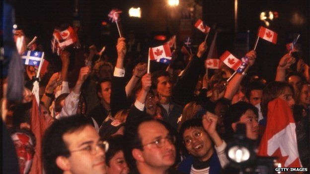 'No' campaigners celebrate the result of the 1995 referendum on independence for Quebec
