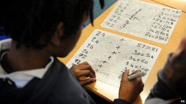 A child doing maths