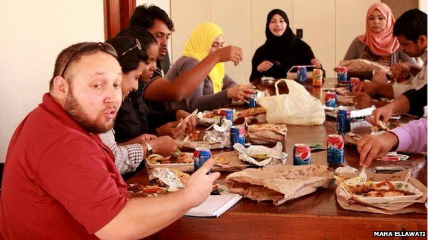 Steven Sotloff pictured having lunch with trainee journalists in Benghazi, Libya - 21 January 2012