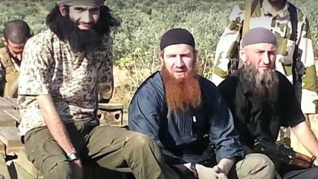 Omar al-Shishani, a Chechen, appears in a video with other foreign jihadist militants in Syria