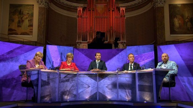 The panel for the BBC debate was Annabel Goldie, Nicola Sturgeon, Jim Murphy and Brian Souter