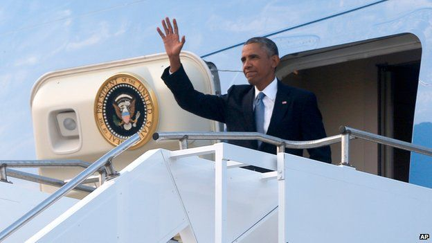 President Obama lands at RAF Fairford for Wales Nato summit