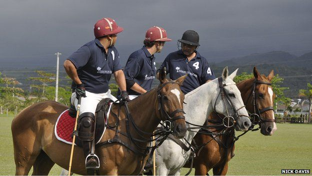 Polo players and their ponies