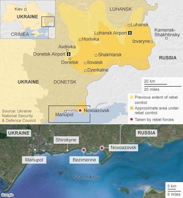 Map of rebel forces in Ukraine, 4 September 2014