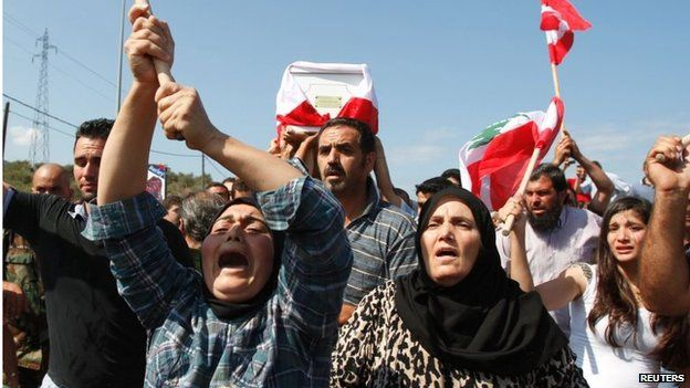 Funeral of Lebanese soldier kidnapped and killed by IS militants in Arsal (03/09/14)