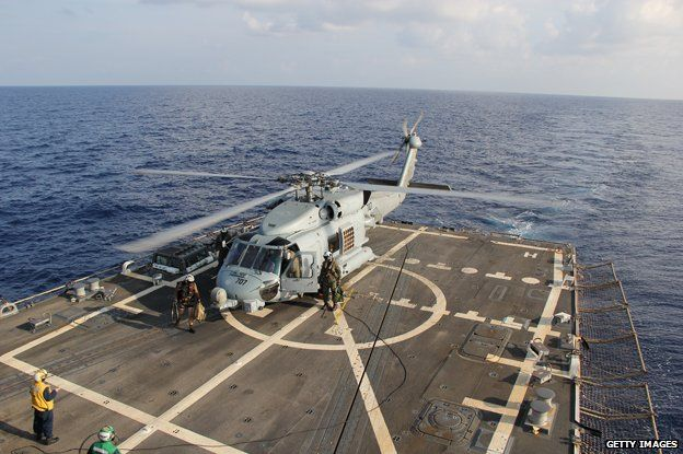 US Sea Hawk helicopter assigned to the guided-missile Destroyer USS Pinckney (DDG 91), in the search and rescue for MH370 in the Gulf of Thailand