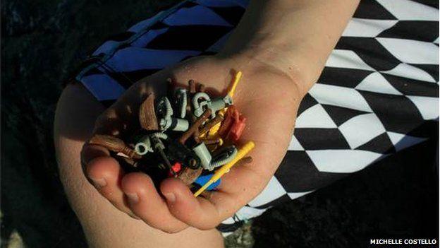 Assorted Lego items found on a beach