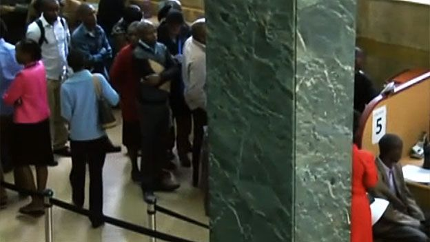 Queuing in a bank in Kenya