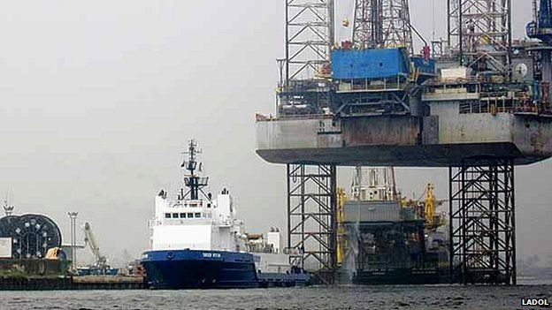 Ship and oil rig in Lagos