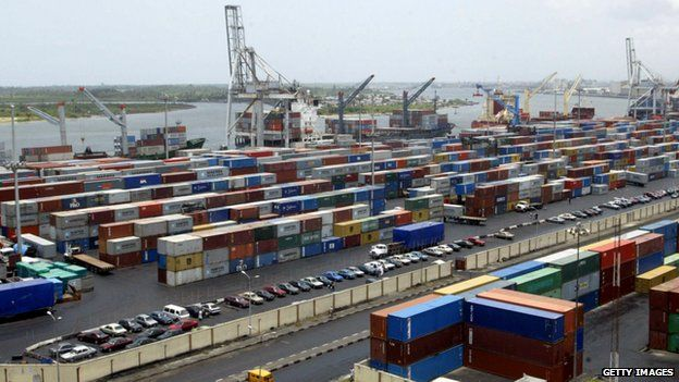 Containers in the main Nigerian seaport in Lagos