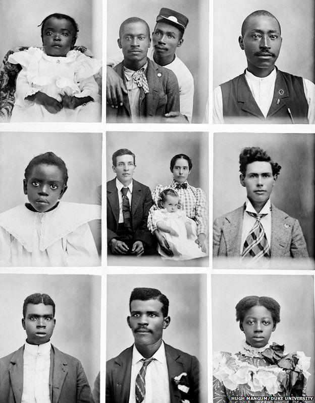 Nine portrait images taken by Hugh Mangum