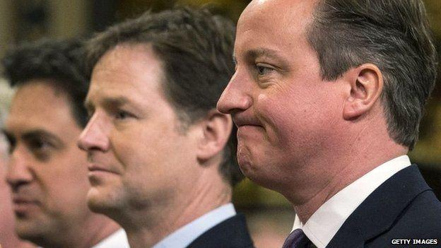 Ed Miliband, Nick Clegg agus Daibhidh Camshron