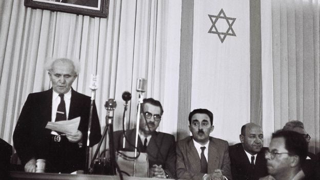 David Ben Gurion reads out Israel's declaration of independence in 1948