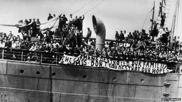 Jewish refugees arrive - illegally - in Palestine in 1947