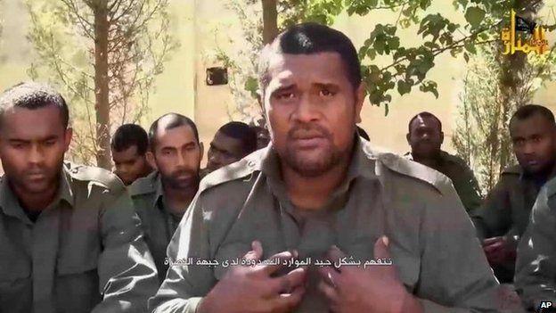 Screengrab of video posted online on 11 September 2014 showing Fijian peacekeepers held captive by Syrian rebel group al-Nusra Front