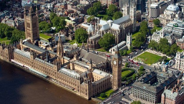 Aerial shot of the House of Parliament and Portcullis House