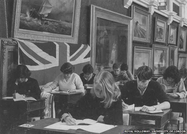 The painting covered by a Union Jack flag in 1984
