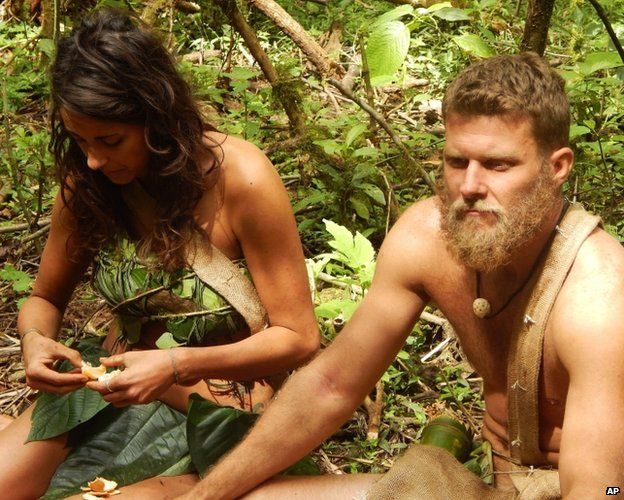 A man and a women appear unclothed in an undated episode of Naked and Afraid