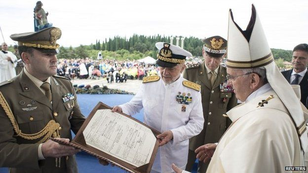 Pope Francis during a mass at Redipuglia military cemetery in Italy on 13 September 2014