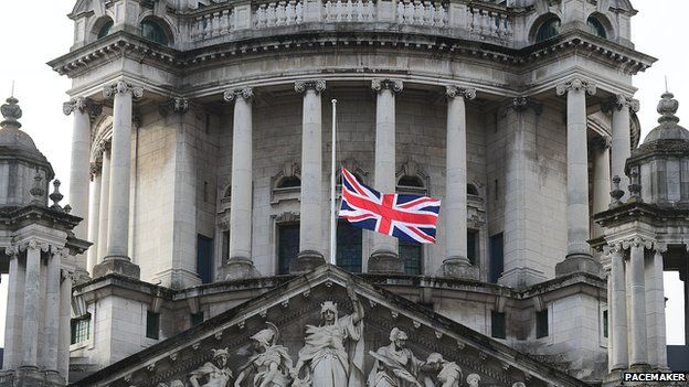 The union flag was flown at half-mast at Belfast City Hall