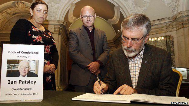 Gerry Adams signs book of condolence