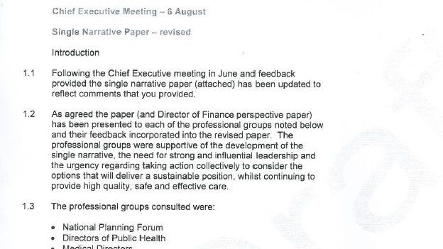 Paper from meeting