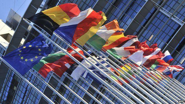EU flags, Strasbourg