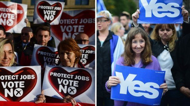 Yes and No campaigners hold placards at separate rallies