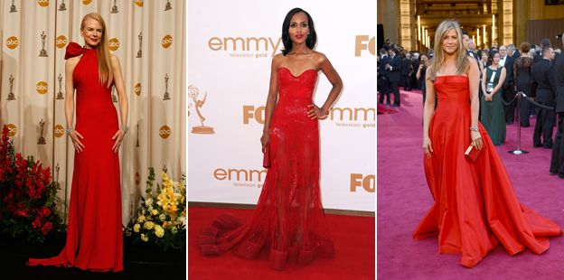 Composite of film stars wearing red dresses on the red carpet