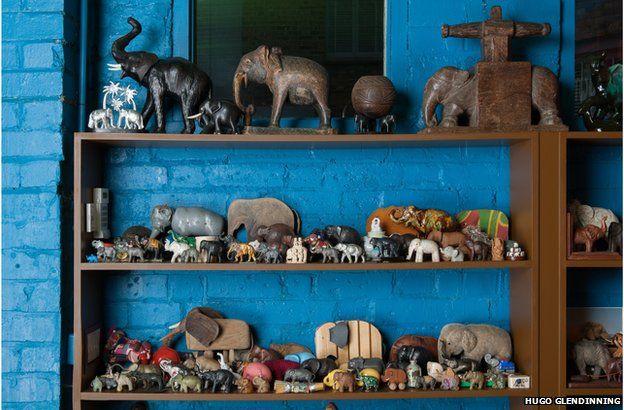 Elephant figurines in the studio of Sir Peter Blake