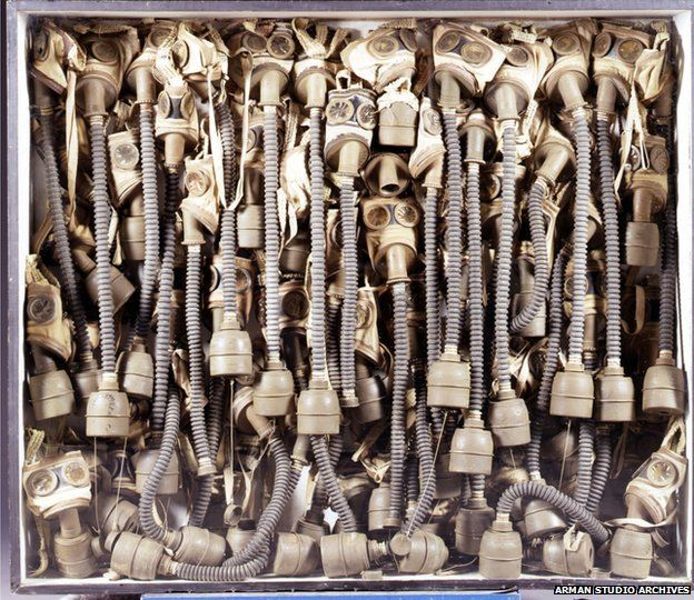 Arman - Home Sweet Home II, 1960. Gas masks in a wooden box, Glenstone, Potomac, Maryland