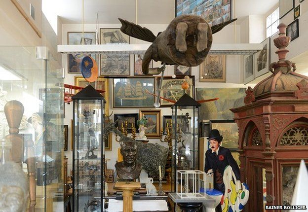 The 'Picasso' or 'tower' room in the Hamburg studio of Hanne Darboven
