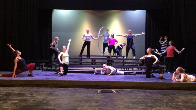 Rehearsal for opening night at Gdansk play house