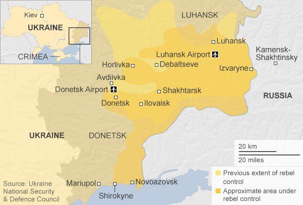 Ukraine conflict Heavy fighting for Donetsk airport BBC News – Map Ukraine Fighting