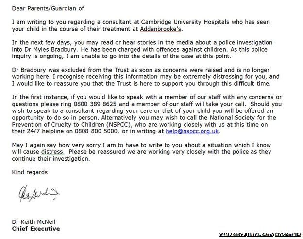Myles bradbury addenbrookes sorry over doctor letters bbc news addenbrookes hospital letter to patients about myles bradbury altavistaventures Image collections