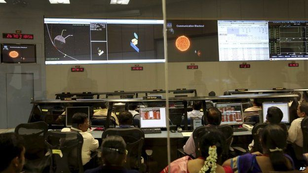 Indian Space Research Organisation scientists watch screens display the graphics explaining Mars Orbiter Mission