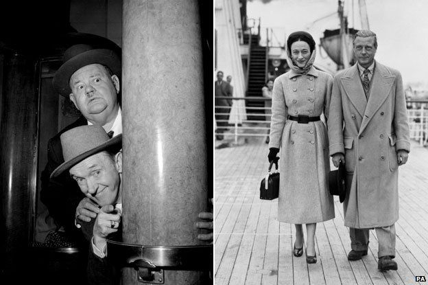 Laurel and Hardy and the Duke and Duchess of Windsor aboard the 'RMS Queen Mary'