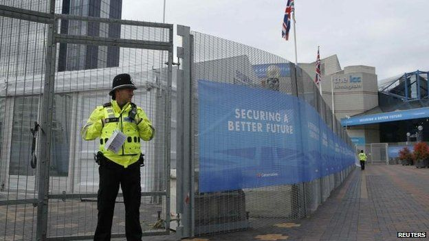 Police officer outside the Conservative party conference venue in Birmingham
