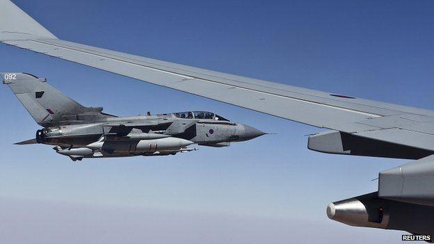 RAF Tornado GR4 flies alongside Voyager tanker during first combat mission out of Akrotiri, Cyprus. 27 Sept 2014