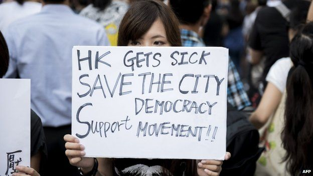 Protesters are angry at Chinese government's plans to vet candidates in Hong Kong's 2017 elections.
