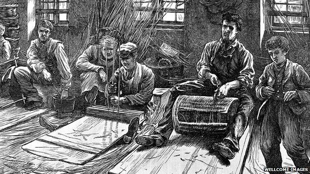 A sketch of blind basket makers from 1871