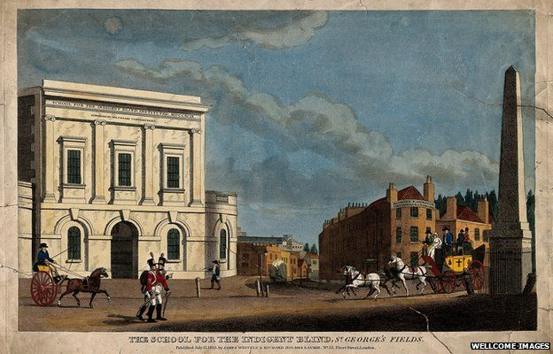 """A coloured engraving of a """"school for the indigent blind"""" from 1813."""