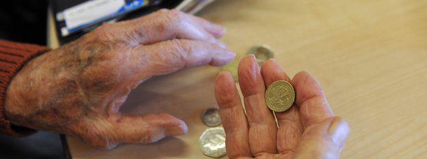 Pensioner's hands