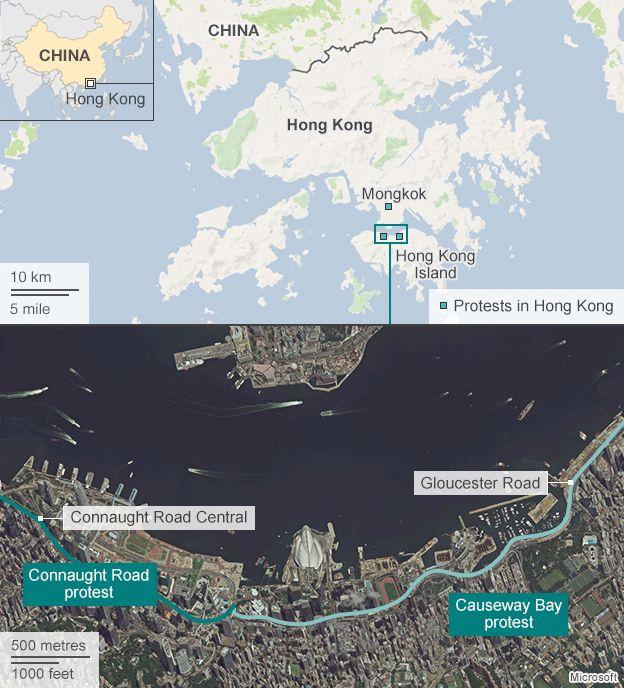 Map showing location of Hong Kong protests