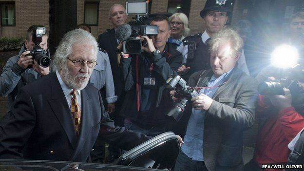 Dave Lee Travis leaving court on Friday surrounded by press photographers