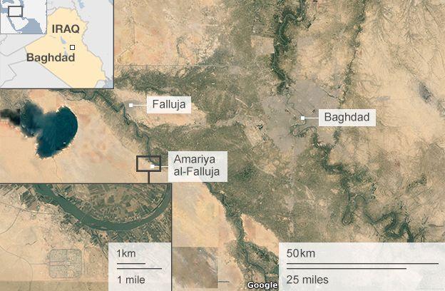 Satellite image showing location of Amariya al-Falluja