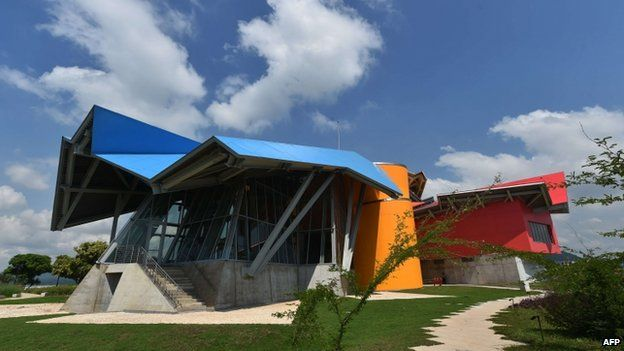 View of the Museum of Biodiversity in Panama City during its inauguration on September 30, 2014.