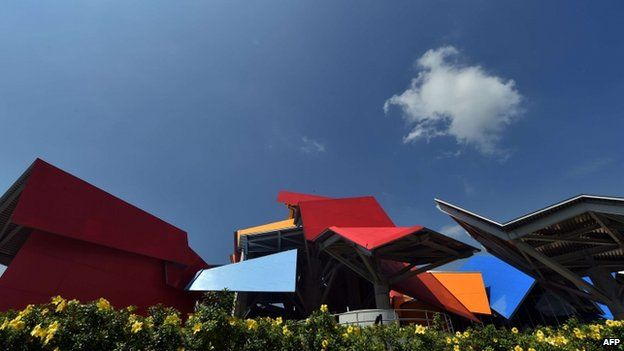 View of the Museum of Biodiversity in Panama City during its inauguration on September 30, 2014