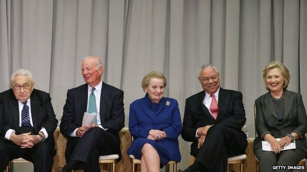 Former Secretaries of State (L-R) Henry Kissinger, James Baker, Madeleine Albright, Colin Powell and Hillary Clinton (September 2014)