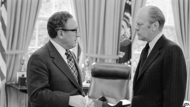 President Gerald Ford, (R) and Secretary of State Henry Kissinger in 1975